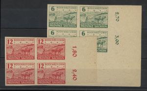 85x-86x Bodenreform - dickes Papier: Viererblock-Satz, postfrisch **