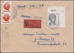 2x Block 2 Berliner Zoo 1969 in MiF auf Wert-Brief BAD FRIEDRICHSHALL 28.2.72