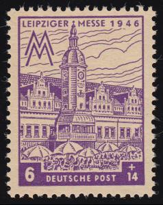 SBZ 162AZ Leipziger Messe 6 Pf, ohne WZ., violett, **