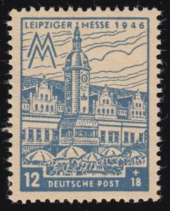 SBZ 163AZb Leipziger Messe 12 Pf, ohne Wz., graublau, **