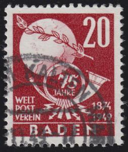 Baden 56 Weltpostverein UPU 20 Pf. O geprüft