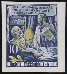 486B YII Friedrich Engels 10 Pf Wz.2 YII, UNGEZÄHNT, **