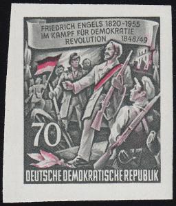 490B YII Friedrich Engels 70 Pf Wz.2 YII, UNGEZÄHNT, **