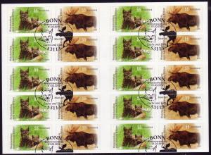 FB 21 Wildtiere Luchs und Elch, Folienblatt 5x2921-2922, EV-O Bonn 1.3.2012