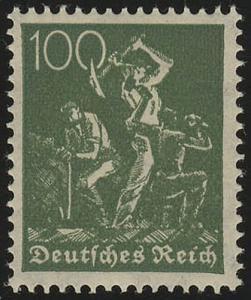 187b Freimarke Arbeiter 100 Pf Wz 2 ** geprüft