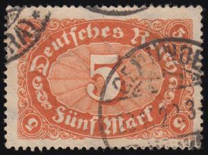 194b Freimarke Ziffer im Oval 5 M Wz 2 gestempelt O geprüft