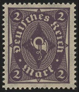 224aa Posthorn einfarbig 2 M ** geprüft