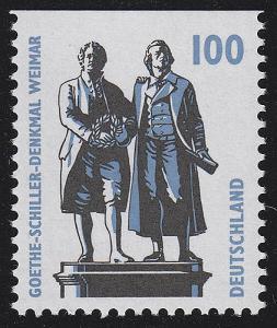 1934C SWK 100 Pf oben ungezähnt, Goethe-Schiller-Denkmal Weimar, **