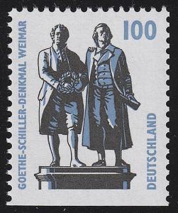 1934D SWK 100 Pf unten ungezähnt, Goethe-Schiller-Denkmal Weimar, **