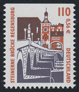 2140C SWK 110 Pf / 0,56 Euro oben ungezähnt, Steinerne Brücke Regensburg, **