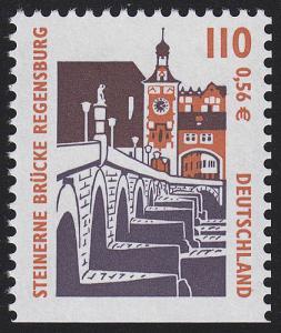 2140D SWK 110 Pf / 0,56 Euro unten ungezähnt, Steinerne Brücke Regensburg, **
