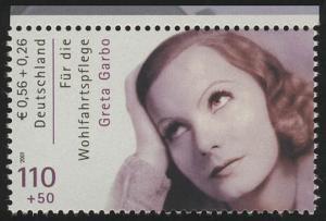2221C Wofa Filmschauspieler Greta Garbo, Zähnung C aus MH, **