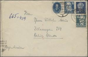 215ff Bebel MiF Auslandsbrief Dresden 13.11.50 & Transorma