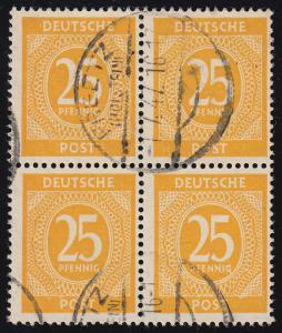 927II Ziffern 25 Pf im Viererblock mit PLF II geschlossenes G, PREETZ 1.7.47