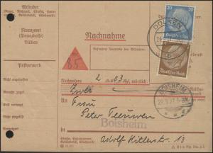 Nachnahmekarte MiF Hindenburg, Dülken 24.9.37 nach Boisheim