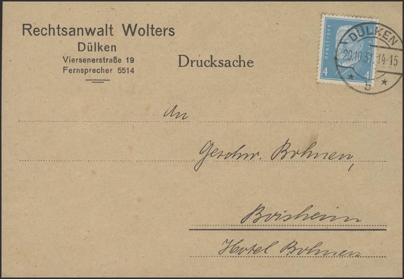 Hindenburg 6 Pf EF Drucksache Dülken 29.10.1931 nach Boisheim 0