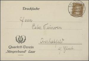 Goethe 3 Pf EF Drucksache Quartett-Verein Sängerbund Laar Brüggen 4.1.1929