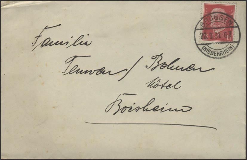 Hindenburg 15 Pf EF Brief Brüggen/Niederrhein 22.9.1931 nach Boisheim 0
