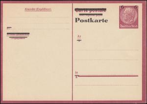 P 244Fb Fremdarbeiter-Postkarte Frageteil, rahmfarben, ** wie verausgabt