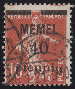 Memel 19y Aufdruck 10 Pf. auf 10 C, weißes Papier, O geprüft
