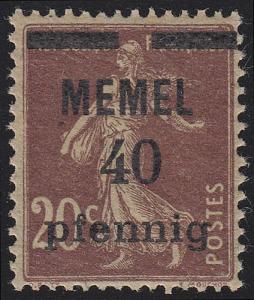 Memel 22b Aufdruck 40 Pf. auf 20 C, GC-Papier, ** postfrisch