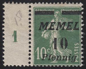 Memel 54b Aufdruck 10 Pf auf 10 C 1922, dunkelgrün, ** postfrisch geprüft