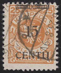 Memel 170B I Aufdruck schwarz 15 C auf 25 Mark, gestempelt