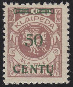 Memel 173A IV Aufdruck grün 50 C auf 500 Mark, ** postfrisch