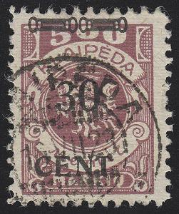 Memel 175 III Aufdruck 30 Cent auf 500 Mark, gestempelt