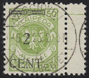 Memel 177 II Aufdruck 2 Cent auf 50 Mark, gestempelt