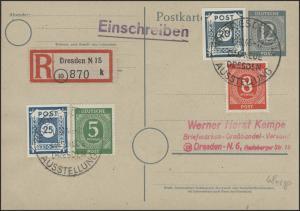 48c Ziffern 20 Pf auf R-Postkarte SSt Dresden 10.10.46, geprüft Ströh BPP