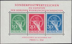 Block 1 Währungsgeschädigte 1949 - postfrisch ** mit Fotoattest Schlegel BPP