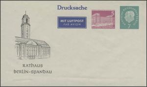 PU 23/2 Berliner Bauwerke/Heuss 5/7 Pf Drucksache Rathaus Berlin-Spandau, **