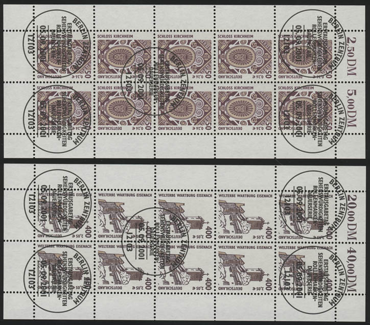 2210-2211 SWK 50 Pf / 400 Pf - 10er-Bogen-Satz gemischt **/ESSt Berlin 0