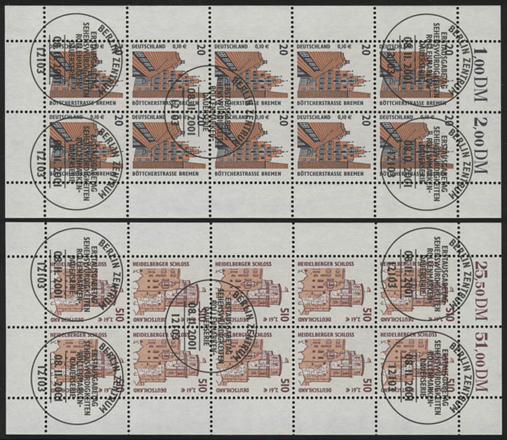 2224-2225 SWK 20 Pf / 510 Pf - 10er-Bogen-Satz, gemischt **/ESSt Berlin 0