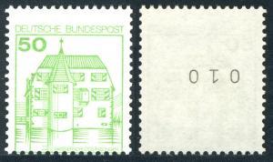 1038 BuS 50 Pf  - mit Nummer und Verzähnung unten im Markenbild, **