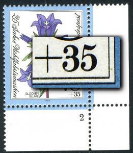 821DD Wohlfahrt Glockenblume 70 Pf - Doppeldruck schwarz, ** signiert