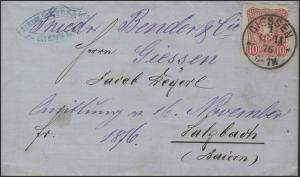 33a Reichsadler 10 Pfennige EF Brief Giessen 16.11.76 nach Sulzbach 17.11.