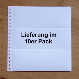 LINDNER Omnia Einsteckblatt 011 weiß 3 Streifen - 10er-Packung