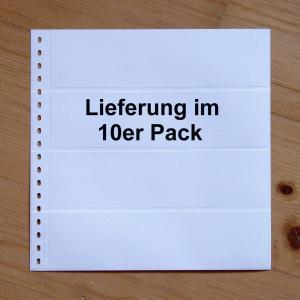 LINDNER Omnia Einsteckblatt 012 weiß mit 4 Streifen - 10er-Packung