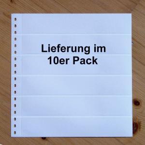 LINDNER Omnia Einsteckblatt 014 weiß 6 Streifen - 10er-Packung