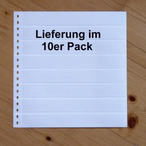 LINDNER Omnia Einsteckblatt 016 weiß mit 8 Streifen - 10er-Packung