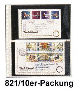 LINDNER Klarsichthülle 821 mit 2 Taschen für Ganzsachen - 10er-Packung