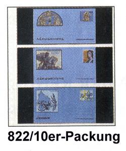 LINDNER Klarsichthülle 822 mit 3 Taschen für Ganzsachen - 10er-Packung