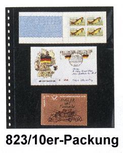 LINDNER 823 Klarsichthülle 3 Streifen für Markenheftchen - 10er-Packung