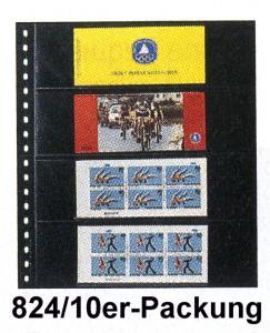 LINDNER 824 Klarsichthülle 4 Streifen für Markenheftchen - 10er-Packung