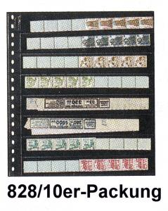 LINDNER 828 Klarsichthülle 8 Streifen 242x30 für Rollenmarken - 10er-Packung