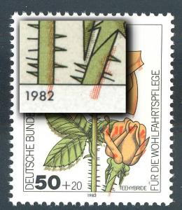 1150 Wohlfahrt Gartenrosen 50 Pf - Passerverschiebung Rot nach unten, postfrisch