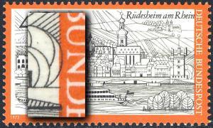 762 Rüdesheim - Passerverschiebung Farbe Schwarz nach rechts, postfrisch **