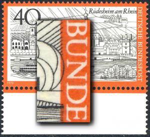 762 Fremdenverkehr Rüdesheim - Passerverschiebung Farbe Schwarz nach rechts, **